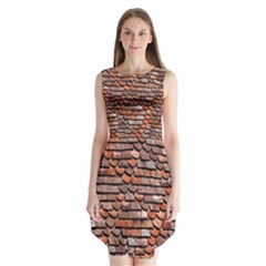 Roof Tiles On A Country House Sleeveless Chiffon Dress