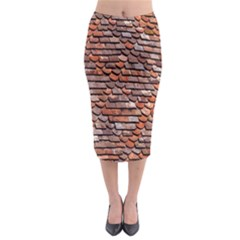 Roof Tiles On A Country House Midi Pencil Skirt