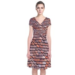 Roof Tiles On A Country House Short Sleeve Front Wrap Dress