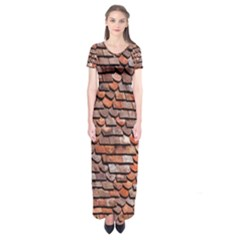 Roof Tiles On A Country House Short Sleeve Maxi Dress