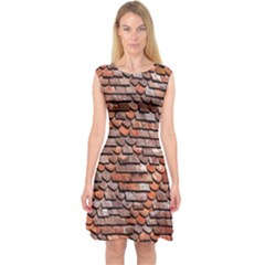 Roof Tiles On A Country House Capsleeve Midi Dress