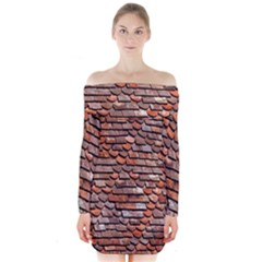 Roof Tiles On A Country House Long Sleeve Off Shoulder Dress