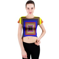 Square Abstract Geometric Art Crew Neck Crop Top