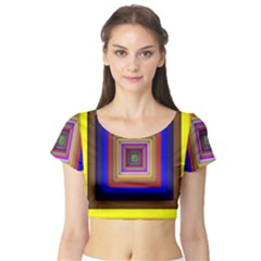 Square Abstract Geometric Art Short Sleeve Crop Top (Tight Fit)
