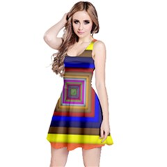 Square Abstract Geometric Art Reversible Sleeveless Dress