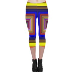 Square Abstract Geometric Art Capri Leggings