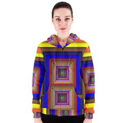 Square Abstract Geometric Art Women s Zipper Hoodie