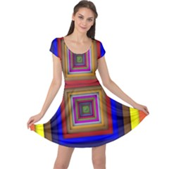 Square Abstract Geometric Art Cap Sleeve Dresses
