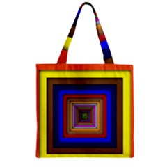 Square Abstract Geometric Art Zipper Grocery Tote Bag