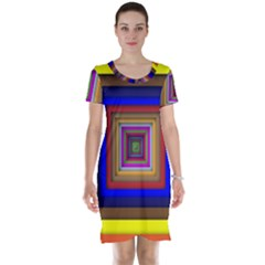 Square Abstract Geometric Art Short Sleeve Nightdress