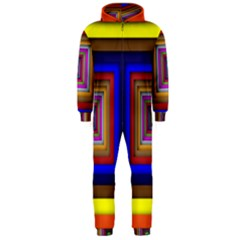 Square Abstract Geometric Art Hooded Jumpsuit (men)
