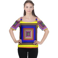 Square Abstract Geometric Art Women s Cutout Shoulder Tee