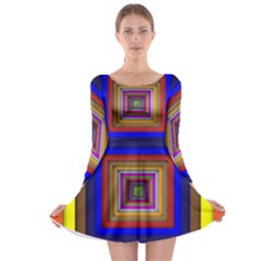 Square Abstract Geometric Art Long Sleeve Skater Dress