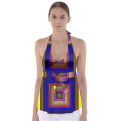 Square Abstract Geometric Art Babydoll Tankini Top