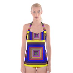 Square Abstract Geometric Art Boyleg Halter Swimsuit