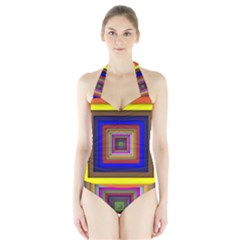 Square Abstract Geometric Art Halter Swimsuit