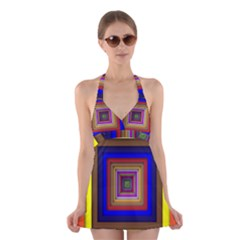 Square Abstract Geometric Art Halter Swimsuit Dress