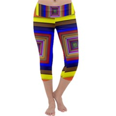 Square Abstract Geometric Art Capri Yoga Leggings
