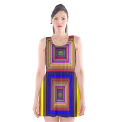 Square Abstract Geometric Art Scoop Neck Skater Dress