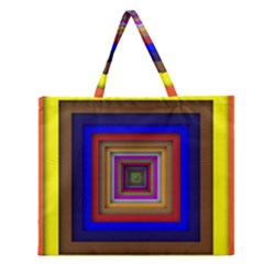 Square Abstract Geometric Art Zipper Large Tote Bag