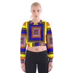 Square Abstract Geometric Art Women s Cropped Sweatshirt