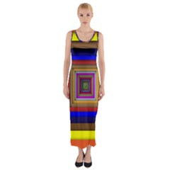 Square Abstract Geometric Art Fitted Maxi Dress