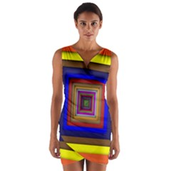 Square Abstract Geometric Art Wrap Front Bodycon Dress