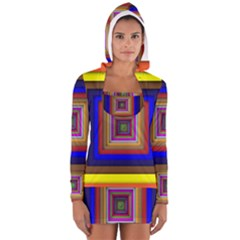 Square Abstract Geometric Art Women s Long Sleeve Hooded T Shirt