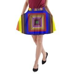Square Abstract Geometric Art A Line Pocket Skirt