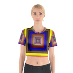 Square Abstract Geometric Art Cotton Crop Top