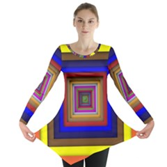 Square Abstract Geometric Art Long Sleeve Tunic