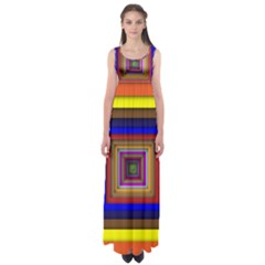 Square Abstract Geometric Art Empire Waist Maxi Dress