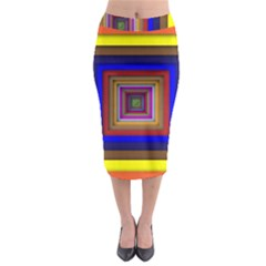 Square Abstract Geometric Art Midi Pencil Skirt