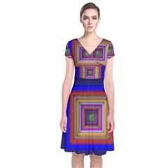Square Abstract Geometric Art Short Sleeve Front Wrap Dress