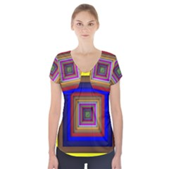 Square Abstract Geometric Art Short Sleeve Front Detail Top