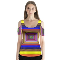 Square Abstract Geometric Art Butterfly Sleeve Cutout Tee