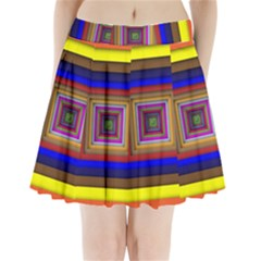 Square Abstract Geometric Art Pleated Mini Skirt
