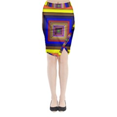 Square Abstract Geometric Art Midi Wrap Pencil Skirt