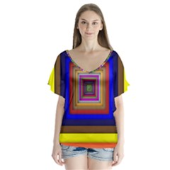 Square Abstract Geometric Art Flutter Sleeve Top