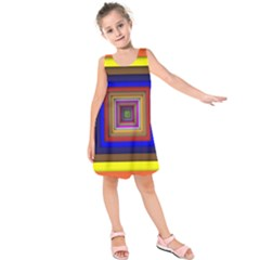 Square Abstract Geometric Art Kids  Sleeveless Dress