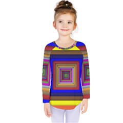 Square Abstract Geometric Art Kids  Long Sleeve Tee