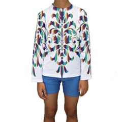 Damask Decorative Ornamental Kids  Long Sleeve Swimwear