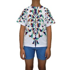 Damask Decorative Ornamental Kids  Short Sleeve Swimwear