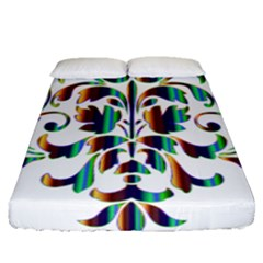 Damask Decorative Ornamental Fitted Sheet (queen Size)