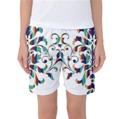 Damask Decorative Ornamental Women s Basketball Shorts