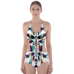 Damask Decorative Ornamental Cut-Out One Piece Swimsuit