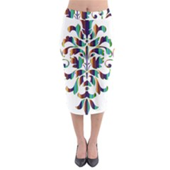 Damask Decorative Ornamental Midi Pencil Skirt