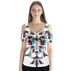 Damask Decorative Ornamental Butterfly Sleeve Cutout Tee