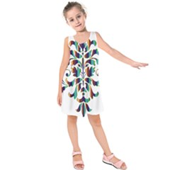 Damask Decorative Ornamental Kids  Sleeveless Dress
