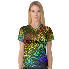 Construction Paper Iridescent Women s V Neck Sport Mesh Tee